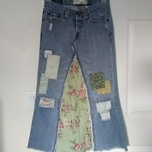 Handmade Unique Boho Levi patched skirt size 3